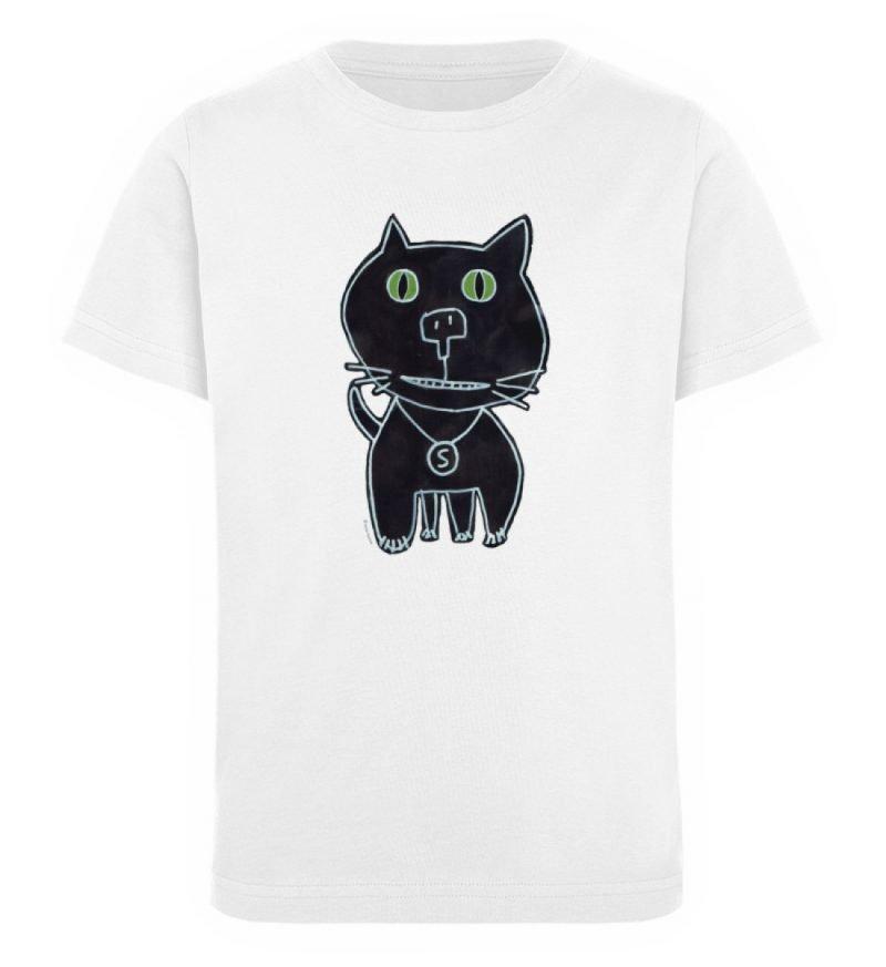 """""""schwarze Katze"""" von Irene Fastner - Kinder Organic T-Shirt-3"""