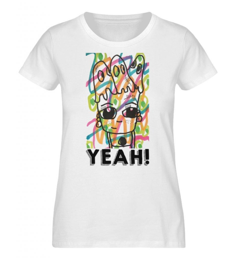 """""""Yeah"""" von Susanne Beucher - Damen Premium Organic Shirt-3"""